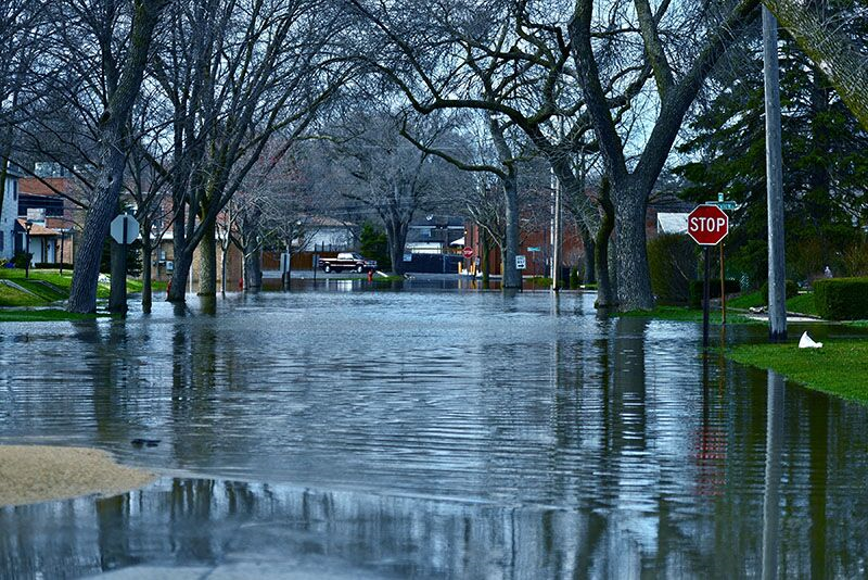 flood water on residential street